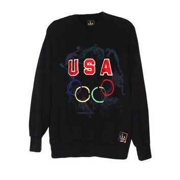1990s Olympics USA Black Crewneck Sweatshirt | Adult Size Large | Retro, 90s, Graphics