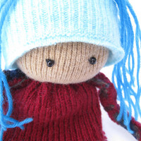 Ragdoll Scrap doll OOAK doll Eco-friendly soft doll Felted wool toy Upcycled sweaters