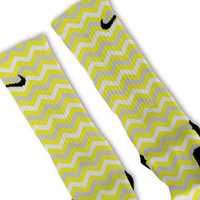 Yellow Chevron Customized Nike Elite Socks!!