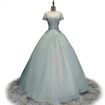 Tulle Perspective Evening Light Blue Prom Ball Gown Elegant Lace Embroidery Beaded Party Dress