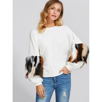 Drop Shoulder Pullover With Faux Fur Sleeve