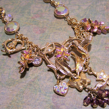 Kirks Folly Hummingbird Necklace, Wisteria Flower, Rhinestones, Aurora Borealis Faceted Beads,Heart Star Butterfly Charms, Gold Tone 417H