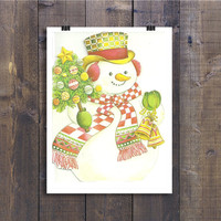 Vintage Snowman Happy Holidays Card - Hope Your Holidays Are Happy Days - 1970s Retro Greeting Card Paper Ephemera, 70s Christmas Card Pack