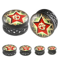 Anarchy Star Logo Double-Flared Plug - Alloy (Black) (Various Gauges) // Set of 2