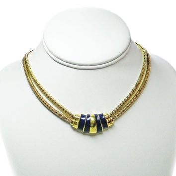 Monet Necklace Blue Enamel Gold Tone Double Snake Chain Extender Clasp