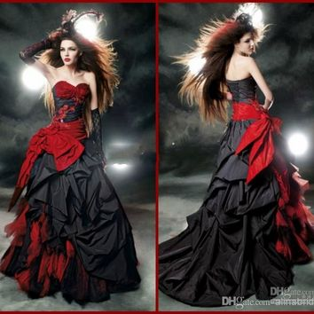 Black And Red Gothic Wedding Dresses 2017 Vintage Court Style Sweetheart Ruffle Taffeta Floor Length Big Bow Sexy Corset Bridal Gowns