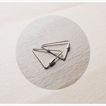 Mini Triangle Hoop Earrings - Sterling Silver Hoop Earrings - Geometric - Gift for Her - Simple Minimalist Everyday Jewelry LITTIONARY