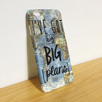 I've Got Big Big Plans - World Map - Travel - Wanderlust - Full printed case for iPhone - by HeartOnMyFingers - CMB-080