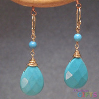 "Turquoise rondelles linked with larger drops, 1-1/2"" Earring Gold Or Silver"