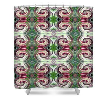 Nautilus Pattern Pink and Green Shower Curtain