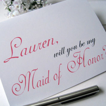 Personalized maid of honor invitation, maid of honor card, will you be my maid of honor, bridal party cards, wedding party
