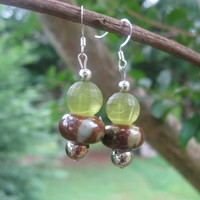 Green Lampwork Earrings
