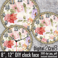 "Vintage style Large Clock Face - 12"" and 8"" Digital Downloads - DIY - Printable Image - Iron On Transfer - Wall Decor - Crafts - jpg+pdf"