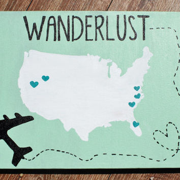Hand Painted Canvas - Wanderlust - CUSTOM ORDERS ONLY