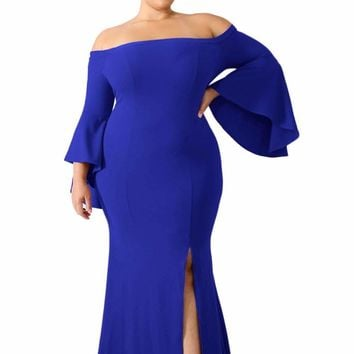 Chic Blue Off Shoulder Slit Plus Size Mermaid Dress