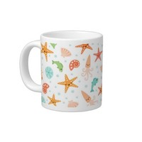 Cute kawaii sea life starfish squid crab pattern