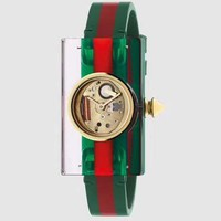 Gucci Champage Dial Ladies Studded Plexiglass Watch YA143509