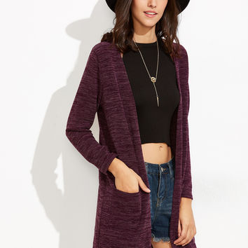 Purple Cocoon Pockets Long Cardigan