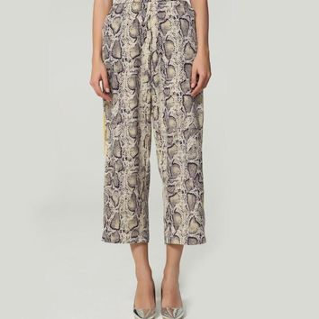 Snake Skin Wide Leg Trousers