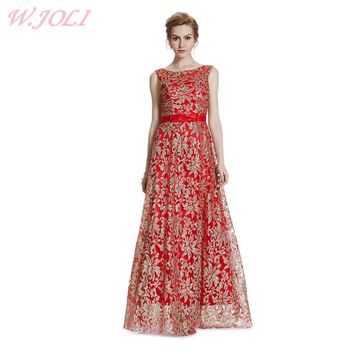 W.JOLI New Embroidery Glitter Bling Evening Dress 2017 Bride Banquet Elegant Wedding Bridesmaid Long Party Prom Dresses