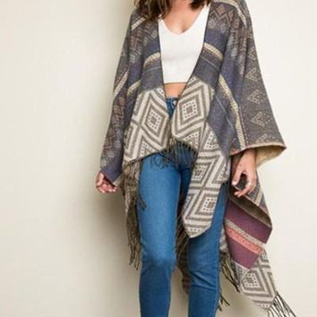Tribal Instinct Poncho - Gray