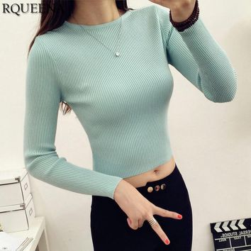 Knit Crop Sweater Pullover Winter Fashion Cotton Women Pullover Knitted Crop Top Jumper Long Sleeve Rib Sweater