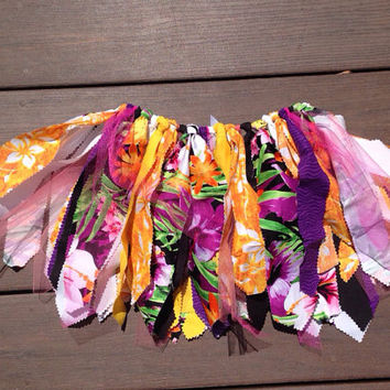 Hawaiian skirt, Tropical, Luau print Fabric Tutu skirt  - choose your size - infant, toddler, child tutu