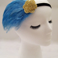 The Lucille - feather 1920s headband, blue flapper headpiece, light blue Gatsby hairpiece, sky blue feather headdress, 1920s hair wrap