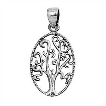 "Sterling Silver Tree of Life Wiccan Pendant 24MM (Free 18"" Chain)"