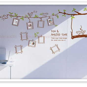 kids wall decal wall sticker photo birds tree by walldecals001
