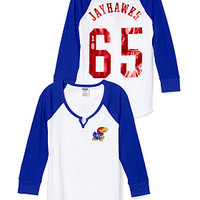 University of Kansas Split-Neck Baseball Tee - PINK - Victoria's Secret