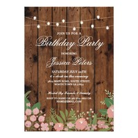 Rustic Birthday Party Coral Floral Wood Invitation
