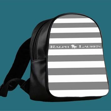 Polo Ralph Lauren Black White Stripes for Backpack / Custom Bag / School Bag / Childre