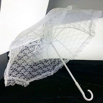 White Lace Parasol Umbrella For Bride Wedding Centerpiece