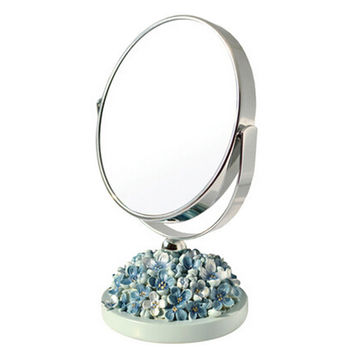 Continental Make-up Mirror 5-Inch Tabletop Two-Sided Cosmetic Mirror Blue