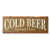 "Decorative Wood Wall Hanging Sign Plaque ""Cold Beer Served Here"" Green White Home Decor"