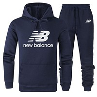 New Balance Autumn And Winter New Fashion Letter Leaf Print Women Men Hooded Long Sleeve Sweater And Pants Two Piece Suit Dark Blue