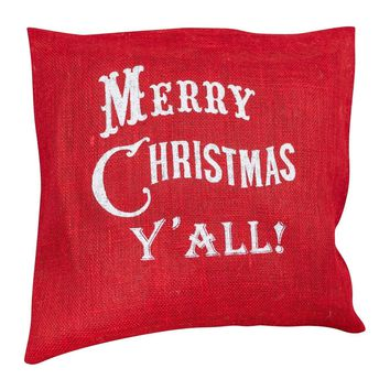 Merry Christmas Y'all Handcrafted Burlap Pillow Cover