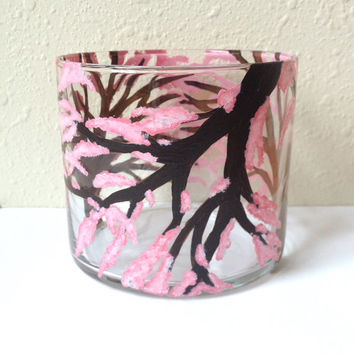 Cherry Blossom Glass Candle Holder Dish Home Decor Pink Flowers Spring Hand Painted