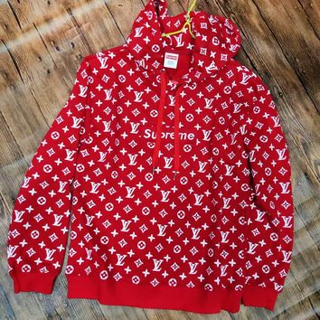 LV Supreme Autumn Winter Fashionable Couple Embroidery Print Red Hooded Sweater Top Sweatshirt I/A