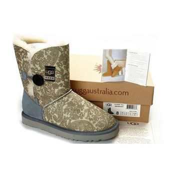 Cyber Monday Uggs Boots Bailey Button Fancy 5809 Grey For Women 101 50