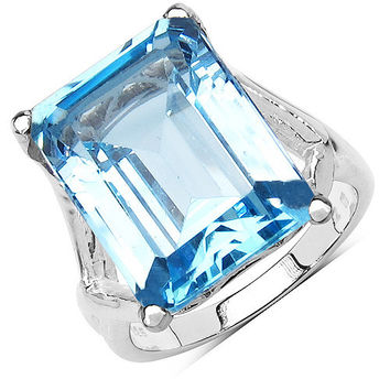 14.20 Carat Genuine Blue Topaz .925 Sterling Silver Ring