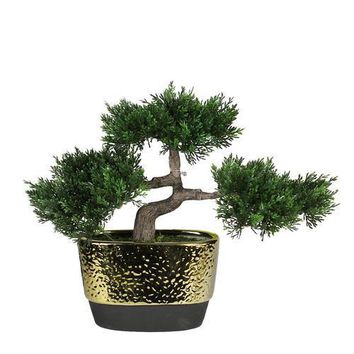 "10"" Decorative Artificial Japanese Bonsai Tree in Oval Gold Plated Ceramic Pot"