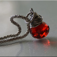 Cranberry Red Quartz Necklace Sterling Silver Wire Wrapped Necklace Ruby Quartz Jewelry hand wrapped jewelry red hydroquartz necklace