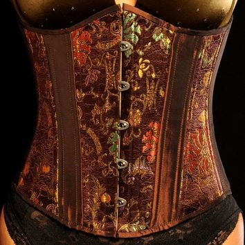 Brown Steampunk Floral Lace Up steel boned Corset
