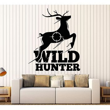 Wall Vinyl Decal Wild Hunter Hunting Deer Forest Nature Home Interior Decor Unique Gift z4429