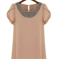 Pearl Beaded Neckline Wrap Sleeve Casual Chiffon Blouse