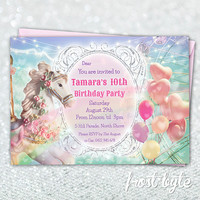 Carnival Themed Customised Birthday Invitation - Carousel pony with balloons - digital customised file to print at home - girls 10th party