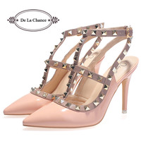 Patent Leather Studded Slingback Heels - 4 colors