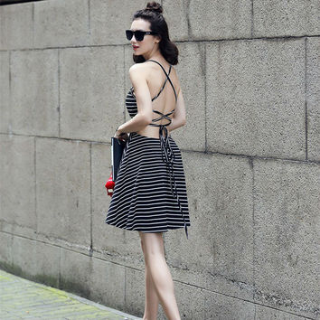 White And Black Striped Crisscross Open Back Skater Dress